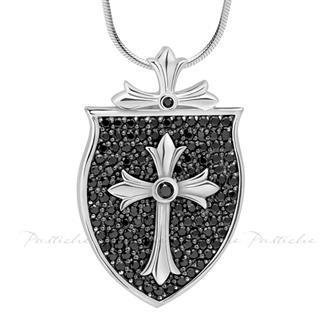 Large Sterling Silver Cross Shield Pendant