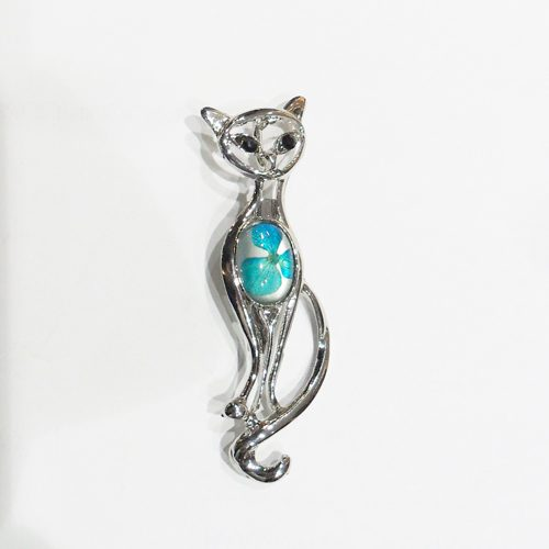BOTANIGEM Cat Walking Brooch Blue