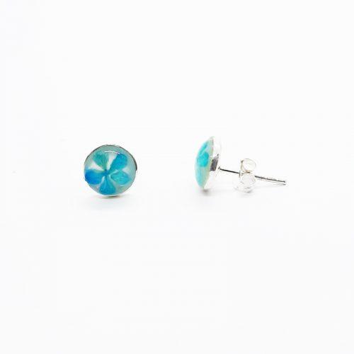 Petite Blue Stud MOP Earrings