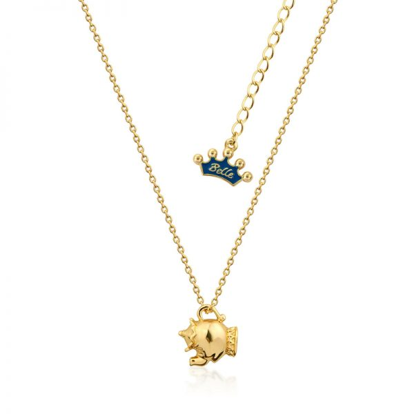 Couture Kingdom Disney Beauty and the Beast Yellow-Gold Mrs Potts Necklace Junior jewellery