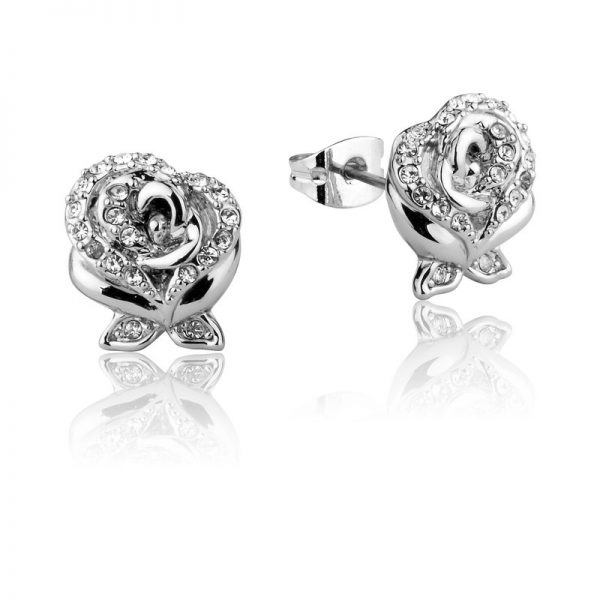 Couture Kingdom Disney Silver Enchanted Rose Crystal Stud Earring jewellery