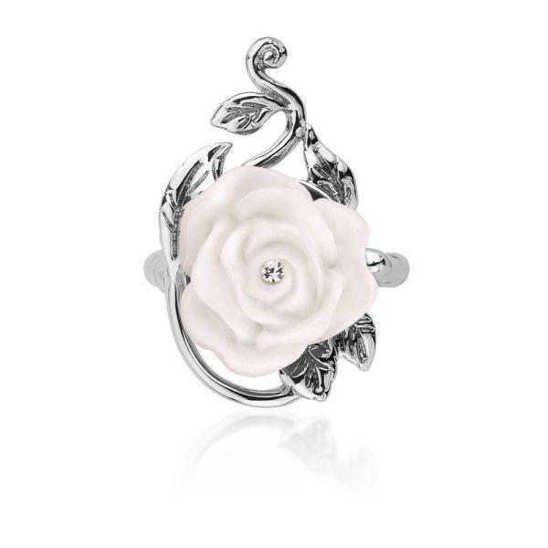 White Enchanted Rose Ring White Gold DSR0129