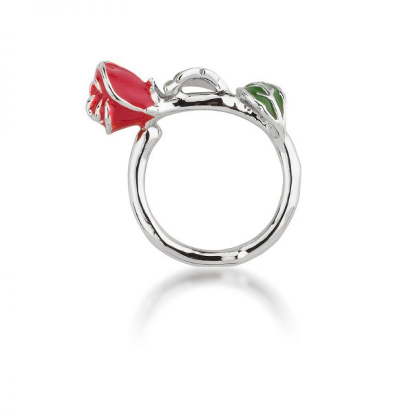 Couture Kingdom Disney White-Gold Beauty and the Beast Rose Ring