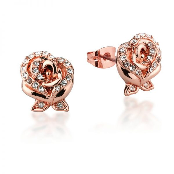 Enchanted Rose Crystal Stud Earrings Rose-Gold