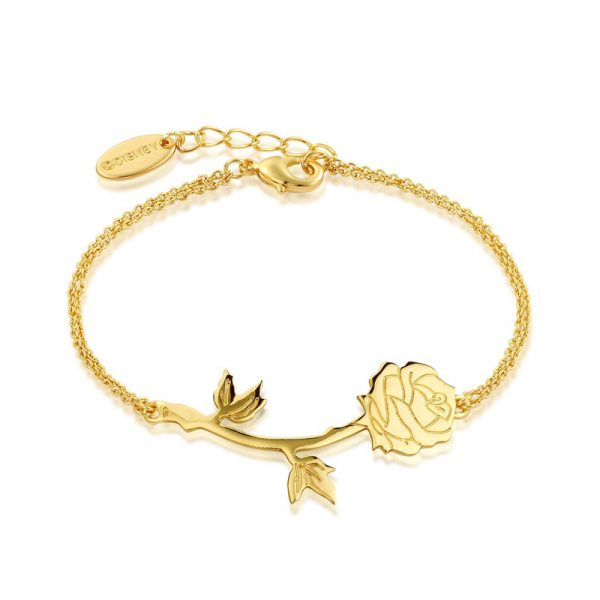 Couture Kingdom Disney Yellow-Gold Beauty and the Beast Rose Bracelet jewllery