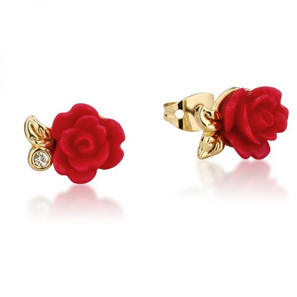 Couture Kingdom Disney Yellow-Gold Red Enchanted Rose Stud Earring jewellery