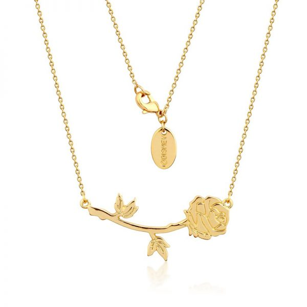 Couture Kingdom Disney Yellow-Gold Beauty and the Beast Rose Necklace jewellery