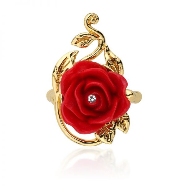Couture Kingdom Disney Yellow-Gold Red Enchanted Rose Ring jewellery