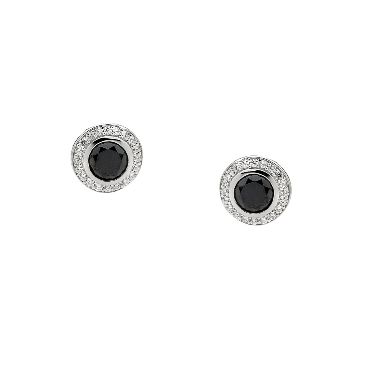 Black CZ Silver Stud Earrings