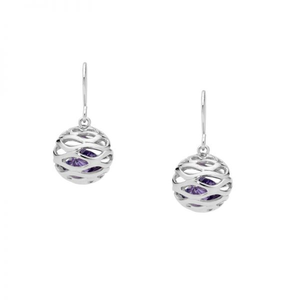 Amethyst Colour CZ Cage Silver Earrings
