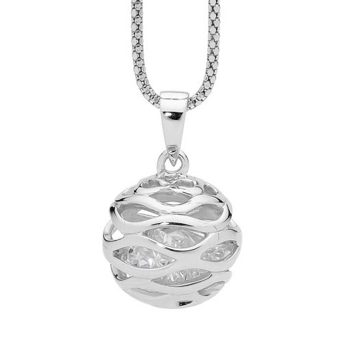 Crystals in Round Ball Cage Silver Necklace