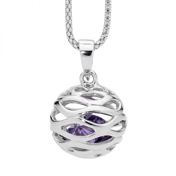Amethyst CZ in Round Cage Silver Necklace