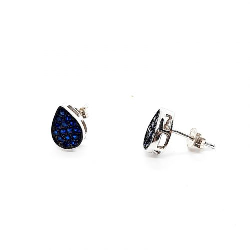 Blue CZ Tear Drop Stud Earrings