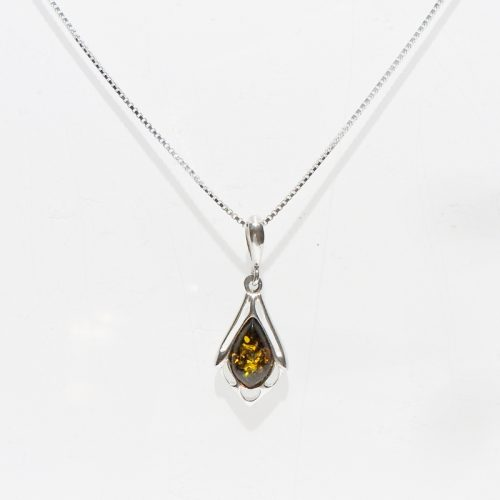 AC008 Baltic Amber Silver Necklace AC008-2-1