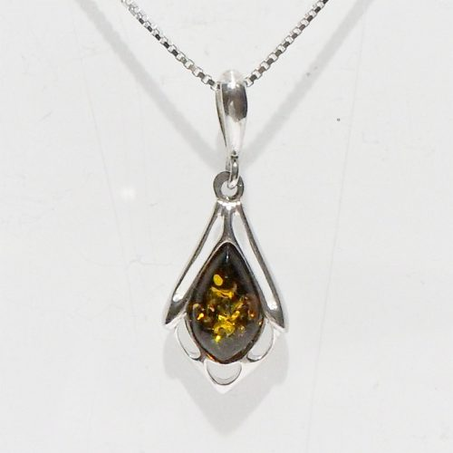 AC008 Baltic Amber Silver Necklace