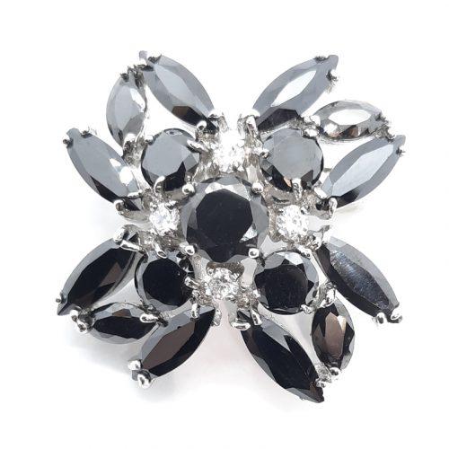 Black Crystal Small Brooch