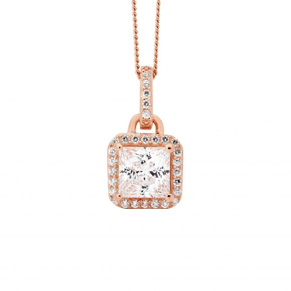 18ct Rose Gold Plated Silver Princess Cut Pendant