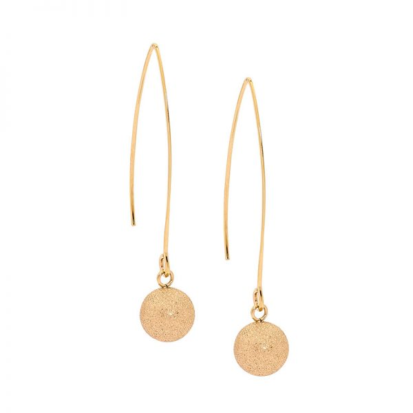 Yellow Gold Stainless Steel Ball Earrings