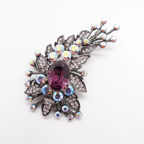 Amethyst Colour Crystal Brooch