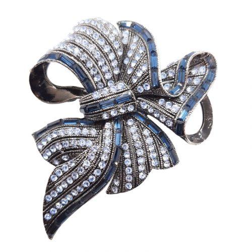 Big Bow Crystal Brooch Sapphire Blue