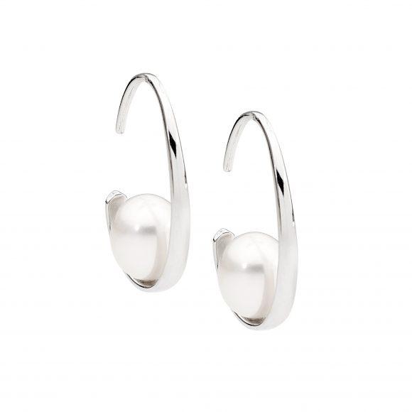 Fresh Water Pearl Rhodium Plated Silver Earrings