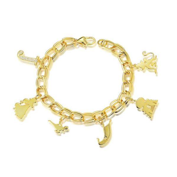 Disney Aladdin Princess Jasmine Charm Bracelet Yellow