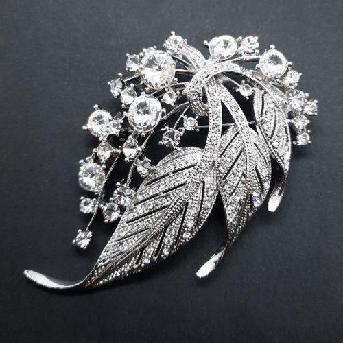 Crystal Leaf Brooch White Gold