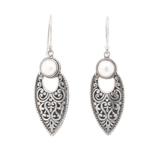 FW Pearl with Oxidised Silver Earrings