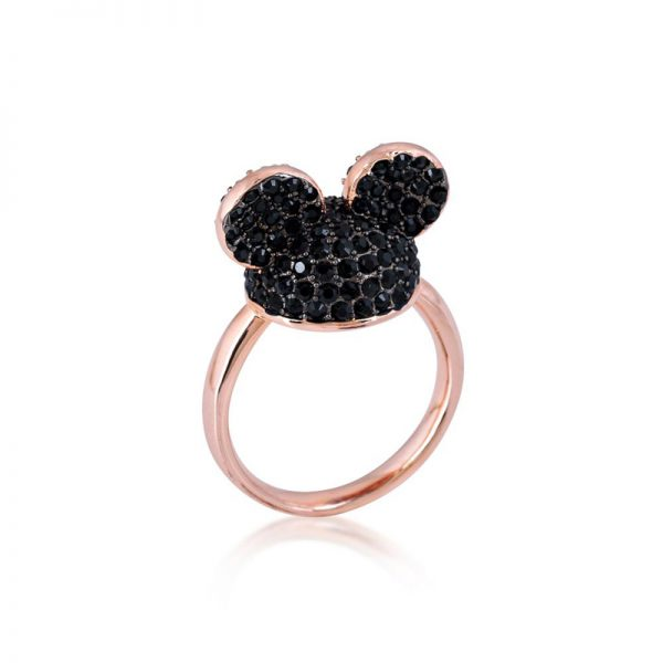 Disney Mickey Mouse Ear Hat Ring Black & Rose Gold
