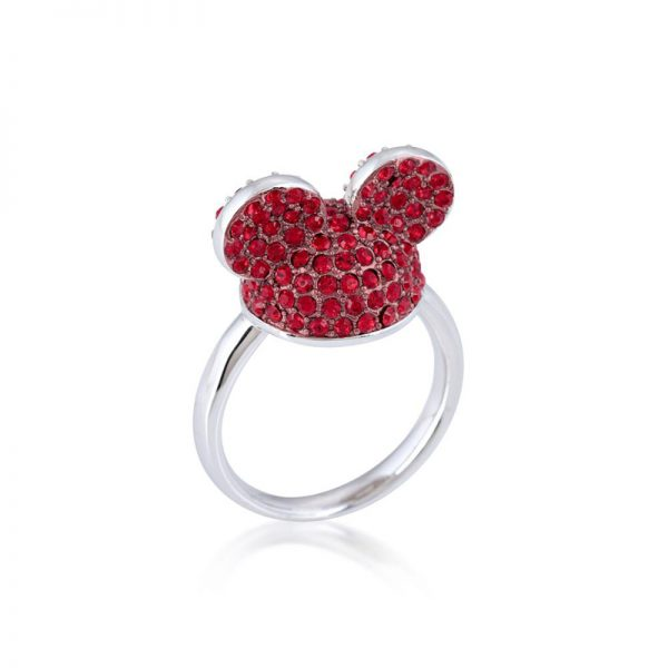 Disney Mickey Mouse Ear Hat Ring Red & Silver