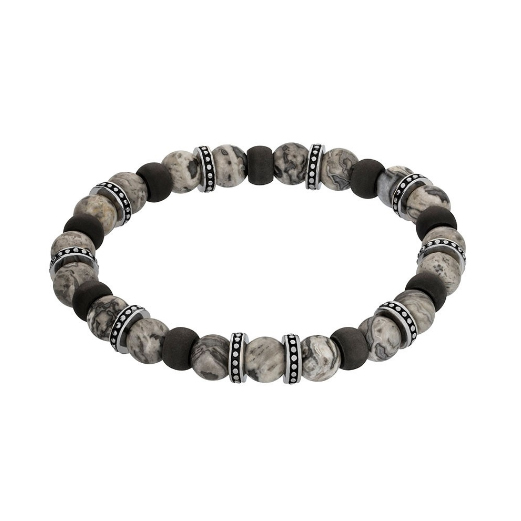 Grey Jasper and Carbon Fibre Beads Bracelet