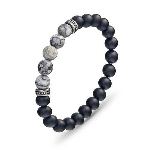 Grey Jasper and Carbon Fibre Bracelet