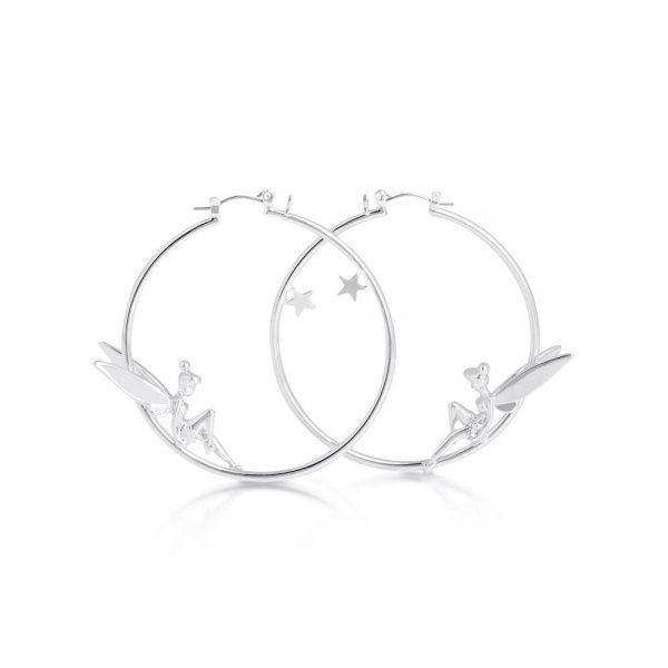 Disney Tinker Bell Hoop Earrings Platinum plated
