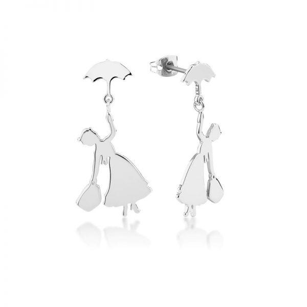 Disney Mary Poppins Flying Umbrella Drop Earrings Silver
