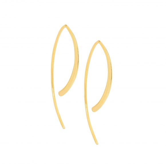Stainless steel long curved earrings Yellow Gold