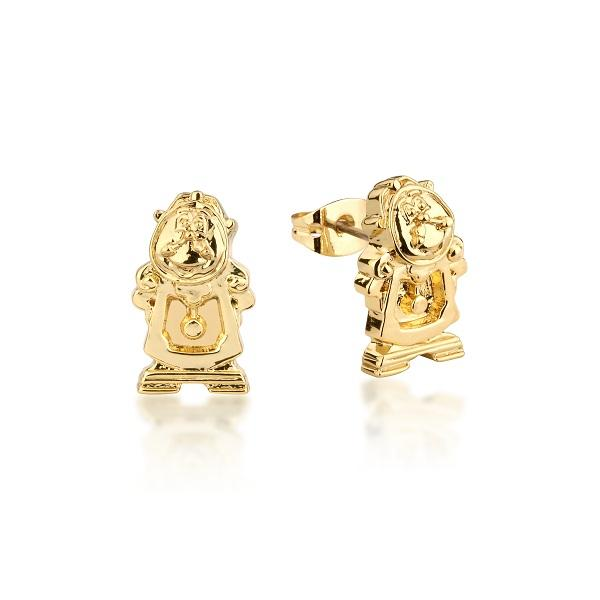 Disney-Beauty-And-The-Beast-Cogsworth-Stud-Earrings-Yellow-Gold-Jewellery-Couture-Kingdom