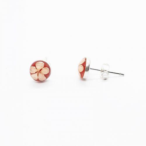 Petite Red Stud Coral Earrings
