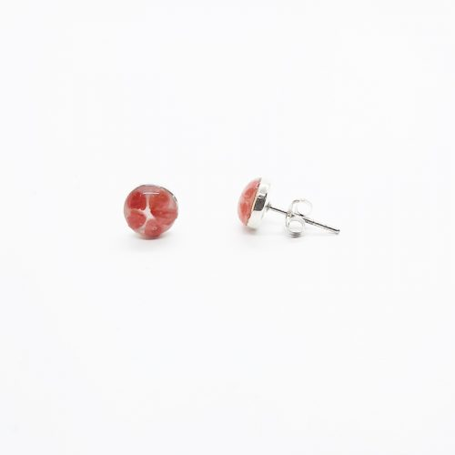 Petite Red Stud MOP Earrings