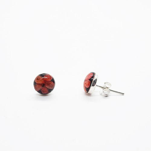Petite Red Studs Onyx Earrings