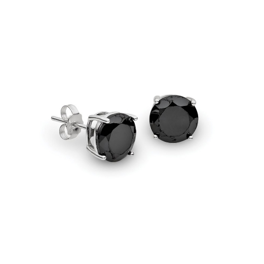 Black silver stud earrings BD151