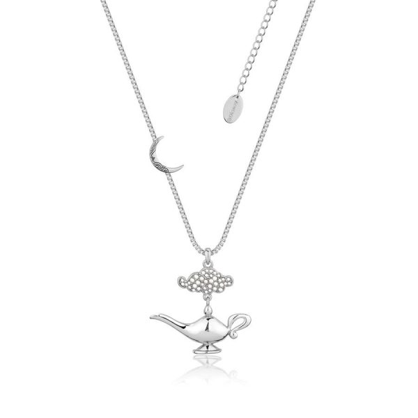 Disney Aladdin Genie Lamp in the Night Necklace Silver