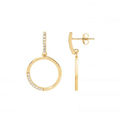 Silver Open Round Drop Earrings Yellow Gold E509G