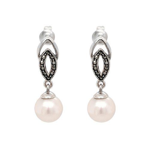 Oxidised Sterling Silver FW Pearl Earrings