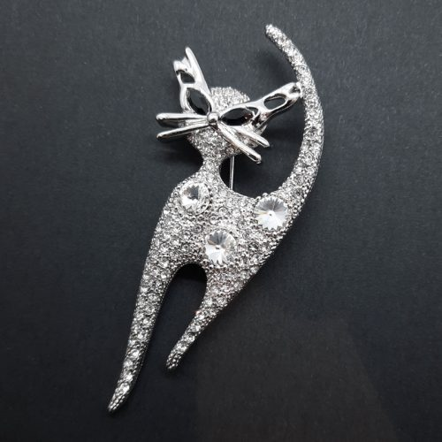 Cat Walking Crystal Brooch White Gold