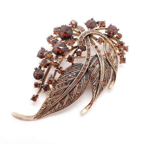 Antique Gold Crystal Leaf Brooch