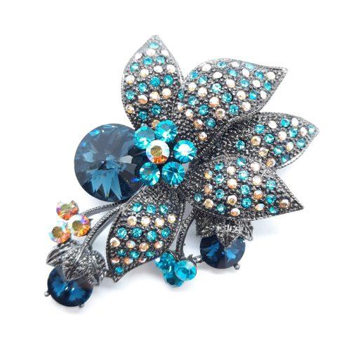 Blue Flower Crystal Brooch
