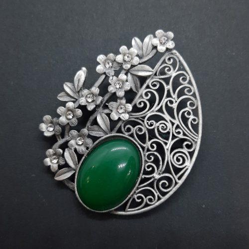 Synthetic Green Jade Brooch