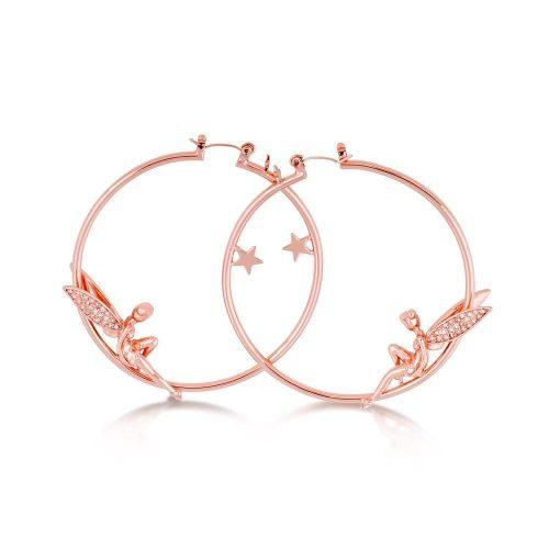 Disney Tinker Bell Hoop Earrings Rose Gold