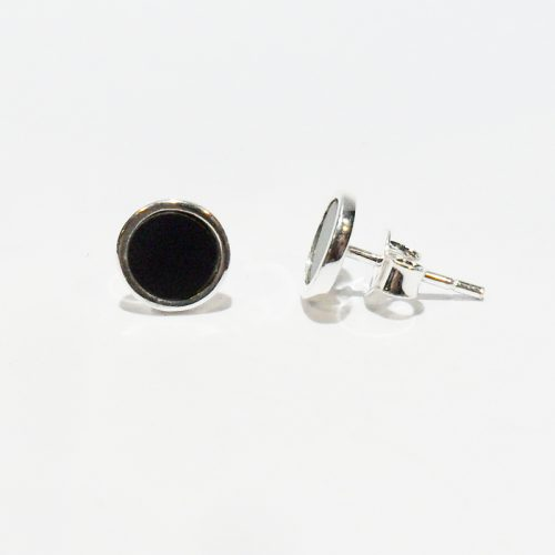 8 mm Black Onix silver stud earrings