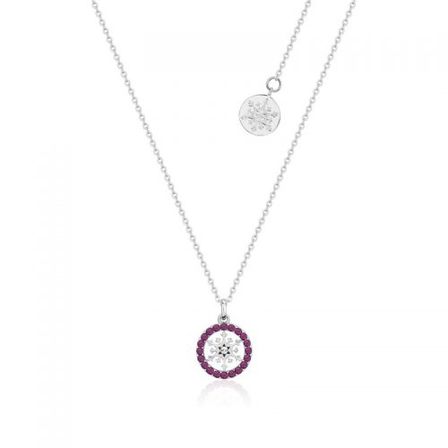 Disney Frozen Snowflake February Birthstone Crystal Necklace Sterling Silver Couture Kingdom